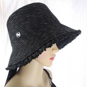 NINE WEST adjustable wheat straw downbrim women's hat sunhat UPF 50+ BLACK