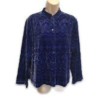 Chico's Embroidered Cobalt Blue Velvet Shirt Jacket Silk Lined Size 1 M
