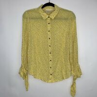 Maeve Anthropologie Womens Pattern Yellow Blouse Button Front Tie Sleeve Size 12