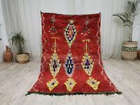 "Moroccan Boujaad Vintage Handmade Rug 4'1""x6'4"" Berber Red Yellow Wool Carpet"