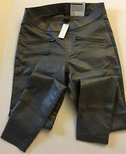 HUE 1 Pair Zippered Jeans Glossy Grey Legging S Graphite U15571H  NWT Denim