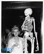 Connie Stevens w/skeleton  candid on set VINTAGE Photo Two On A Guillotine
