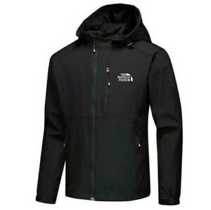 Men's Full zip jacket outdoor hooded jacket casual spring and autumn soft shell.