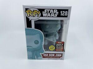 Funko Pop! Star Wars Qui Gon Jinn #128 GITD Glow 2017 Galactic Convention MINT