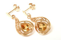 9ct Gold Citrine Filigree Drop Earrings Gift Boxed Christmas Gift Made in UK