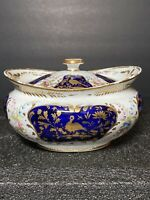 Antique Early Marked Royal Crown Derby Covered Sugar Dish Bowl