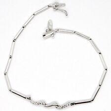 Bracelet or Blanc 18K 750, Tennis avec Zircon, Tubes, Serpent Ondulé
