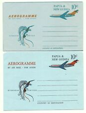 PAPUA NEW GUINEA / PNG: 2 diff. Aerogrammes 10c.Airplane (diff.types)/1969/mint