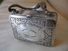 Antique Auto Art Nouveau Floral G Silver Card Case DOUBLE Compact Lipstick Purse