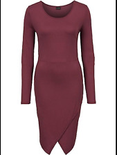 Kaleidoscope BodyFlirt Size 14 16 Simply Fab Maroon Jersey Wrap DRESS Stylish