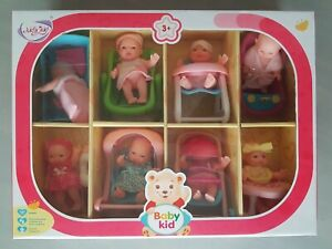 Deao Set of 8 Baby Dolls with accessories. Bed highchair bath pushchair walker