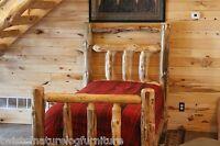 Deluxe Log Bed, Log Cabin Style! Half Log side rails, Matt supp., Log Furniture