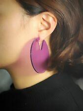 orecchini A perno Grandi Tondo Acrilico Viola Perla Leggero Semplice M3