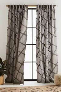 """Anthropologie Grey Embroidered Berea Curtain Panels Pair TWO 50 x 96"""" Diamonds"""