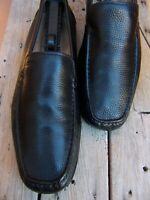 ECCO Mens Dress Shoes Soft Black Leather Casual Slip On Driver Loafers Size 12M