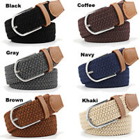 Men's Belt Elastic Stretch Waistband Woven Leather Tip Silver Buckle Male Straps