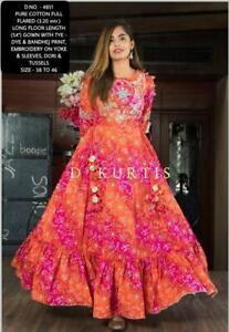 Anarkali Kurta Kurti Indian Designer Women Dress Flared Ethnic Pakistani Gown