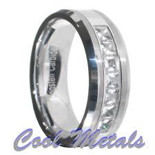 1.4 Carat Tungsten Carbide Princess Cut CZ Men Women Wedding Band Ring Size 7-15