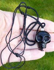 Tibétain à haute altitude noir cristal de quartz Unique Crâne humain Perle Collier