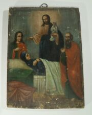 antike IKONE auf HOLZ Handgemalt Jesus Krankenheilung Heiligenbild Christus Bild