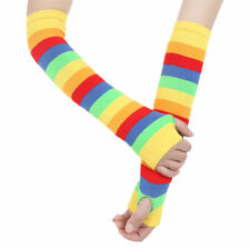 Rainbow Striped Knee Thigh High Socks/Arm Warmer Gloves for Personality Girls