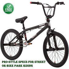 20 Mongoose Brawler Pro Style Boys' BMX Bike, 4 Freestyle Pegs, Black