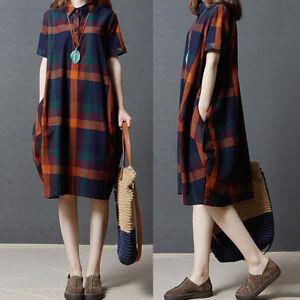 ZANZEA UK Women Oversized Vintage Buttons Down Check Loose Long Tops Shirt Dress