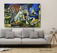 Pablo Picasso Oil Painting  Mediterranean Landscape Hand-Painted Canvas 24x40 in