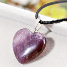 Amethyst Crystal Gemstone Heart Pendant Black Cord Necklace Jewellery 1.5cm