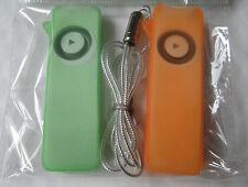 Ipod shuffle silicone skin/Case,twin pack+neck cord,green/orange
