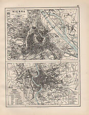 1899 VICTORIAN MAP ~ VIENNA ENVIRONS & TOWN PLAN ~ ROME