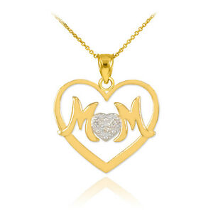 Mother's Day Gifts 14K White Rose Gold Diamond Heart Love MOM PENDANT Necklaces