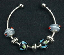 925 Silver-PLated 'SPOTS' CUFF BRACELET With European Glass Silver Beads Charms
