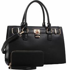 Dina Lock and Key Concealed Carry Satchel with Matching Wallet Set