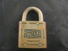 VINTAGE ANTIQUE RARE PROTEXU NO. 4 BRASS PADLOCK - COLLECTIBLE LOCK