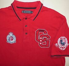 Coogi Mens red solid Short Sleeve Polo Shirt Embroidered Logos 100% Cotton,2XL