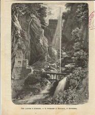 Stampa antica Cascata di ROTZLOCH Nidwalden Svizzera 1890 Old Print Switzerland