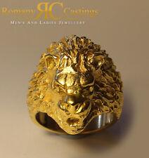 925 SILVER LION'S HEAD RING RING 33 G immerso in oro 9 KT tutte le dimensioni