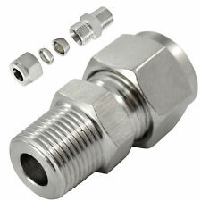 "3/8"" NPT x 10MM Male Compression Fitting Tube Double Ferrule NPT SS304 megairon"