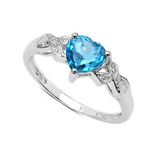 9CT WHITE GOLD 1.00CT BLUE TOPAZ HEART & DIAMOND ENGAGEMENT RING SIZE I - W