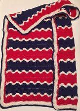 Handmade Red White & Blue Crocheted Throw Patriotic Blanket App. 3x4