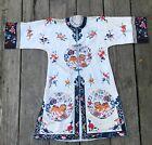 ANTIQUE CHINESE Embroidered Silk Kimono ROBE Dress Rare Foo Dogs Design S/M