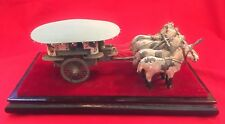 Chinese Qin Horse carriage chariot box w. canopy handcrafted sculpture on stand