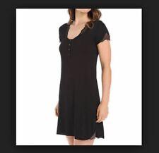 La Perla Julianna XS Short Sleeve Nightgown Black Scoop Neckline