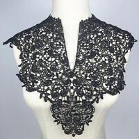 Black Floral Venise Neckline Collar Motif Applique Lace Costume Guipure