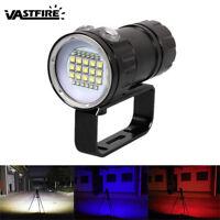 180W Weiß Rot Blau LED Licht 27LED Diving Fotografie Tauchen Taschenlampe 6000k