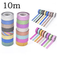 10m glitter washi sticky paper masking adhesive tape label*craft decorative