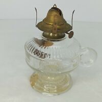 Antique Kerosene Oil Footed Hand Finger Lamp Zipper Loop EAPG Clear Glass