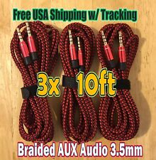 3x 10ft RED 3.5mm AUX BRAIDED 3M AUXILIARY CORD Male Stereo Audio Cables Cords