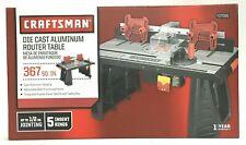 Craftsman Die Cast Aluminum Router Table 367 SQ IN 937596